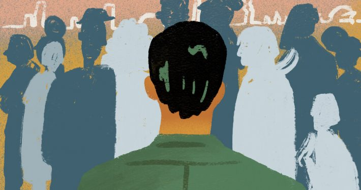 Illustration of man in front of crowd
