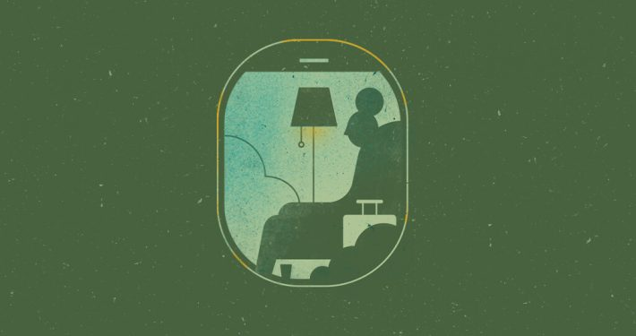 Illustration of a person sitting in living room but through a airplane window